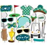 Golf Photo Booth Props Kit - 20 Pack Party Camera Props Fully Assembled