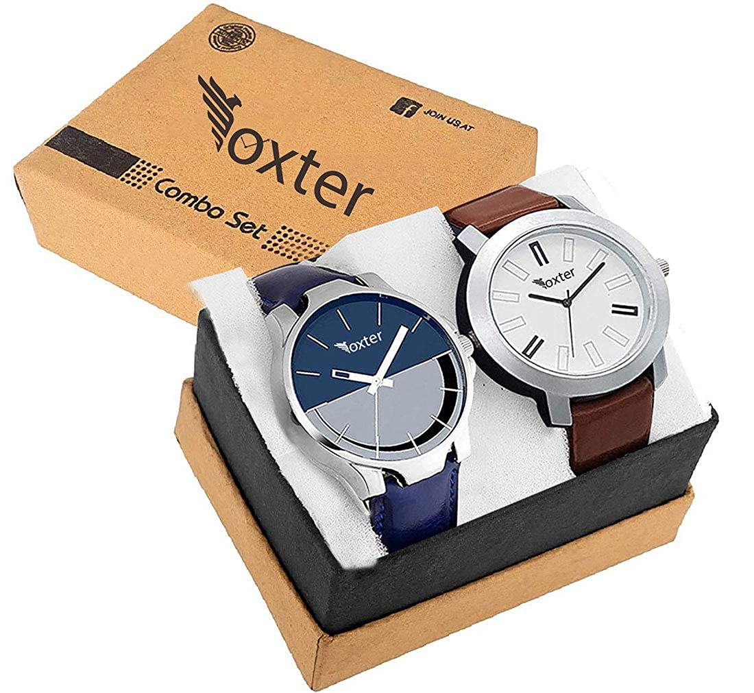 Foxter Quartz Movement Analogue Display Multicoloured Dial Men's  Watch(ARMBLK~27GREY~27SMILY) - Pack of 2