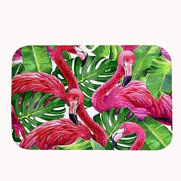 Truiuiui Schones Pink Rutschfeste Badematte Flamingos Super