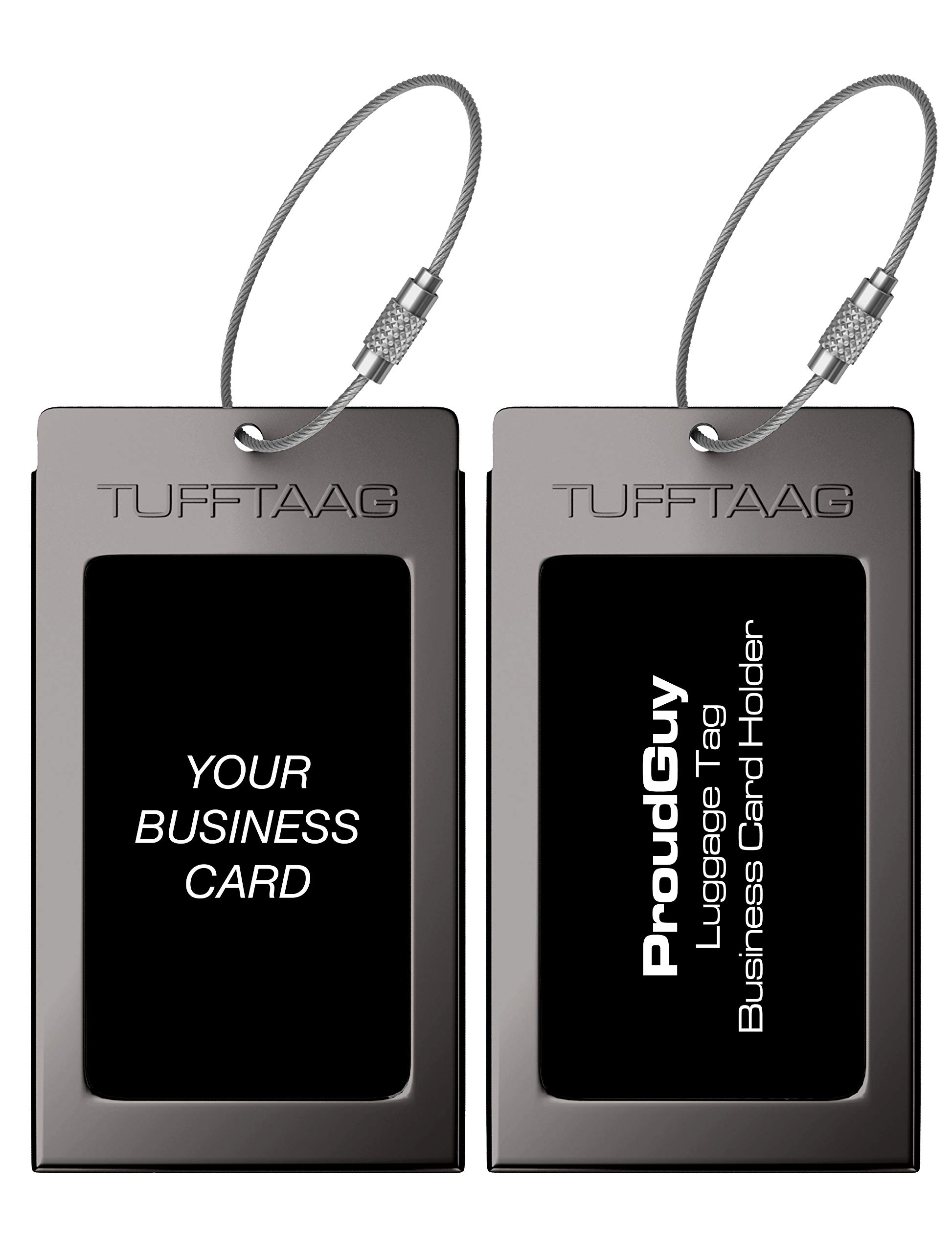 Luggage Tags Business Card Holder TUFFTAAG Travel ID Bag Tag in Many Color Options (2 Tags, Gunmetal Steel) by ProudGuy