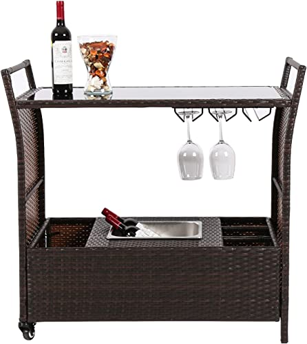 Peach Tree Outdoor Patio PE Wicker Serving Bar Cart on Wheels with Ice Bucket and Wine Rack