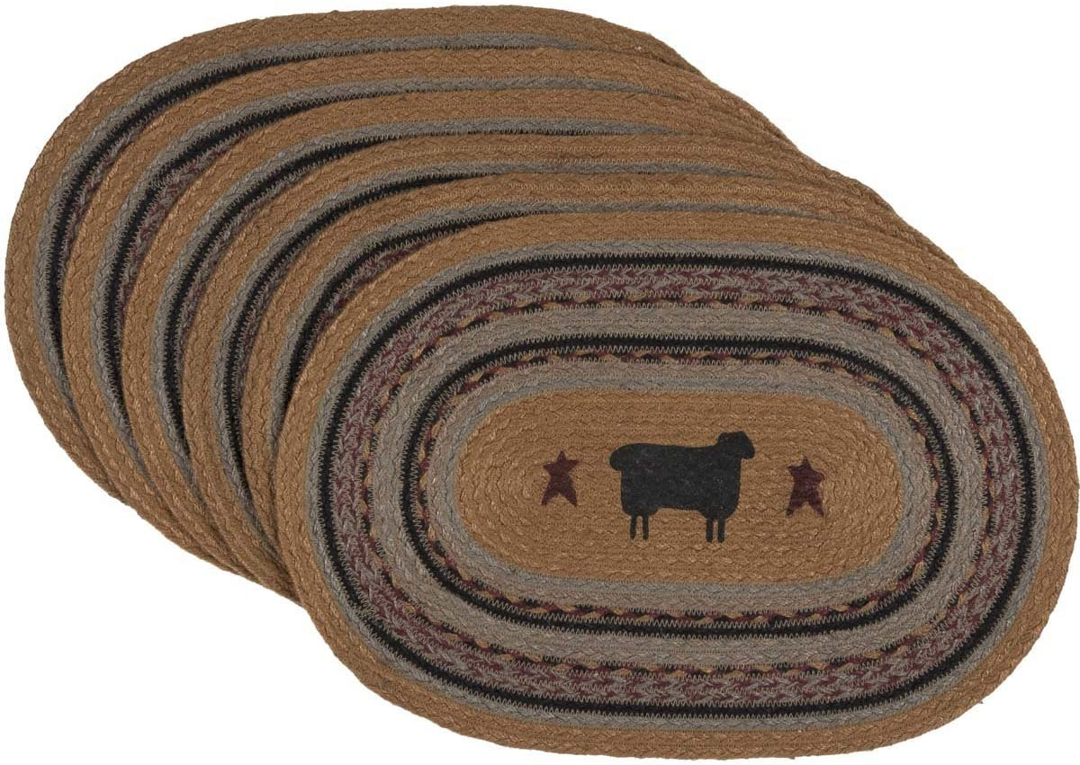 VHC Brands Primitive Tabletop & Kitchen - Heritage Farms Tan Sheep Oval Jute Placemat Set of 6, Mustard Yellow
