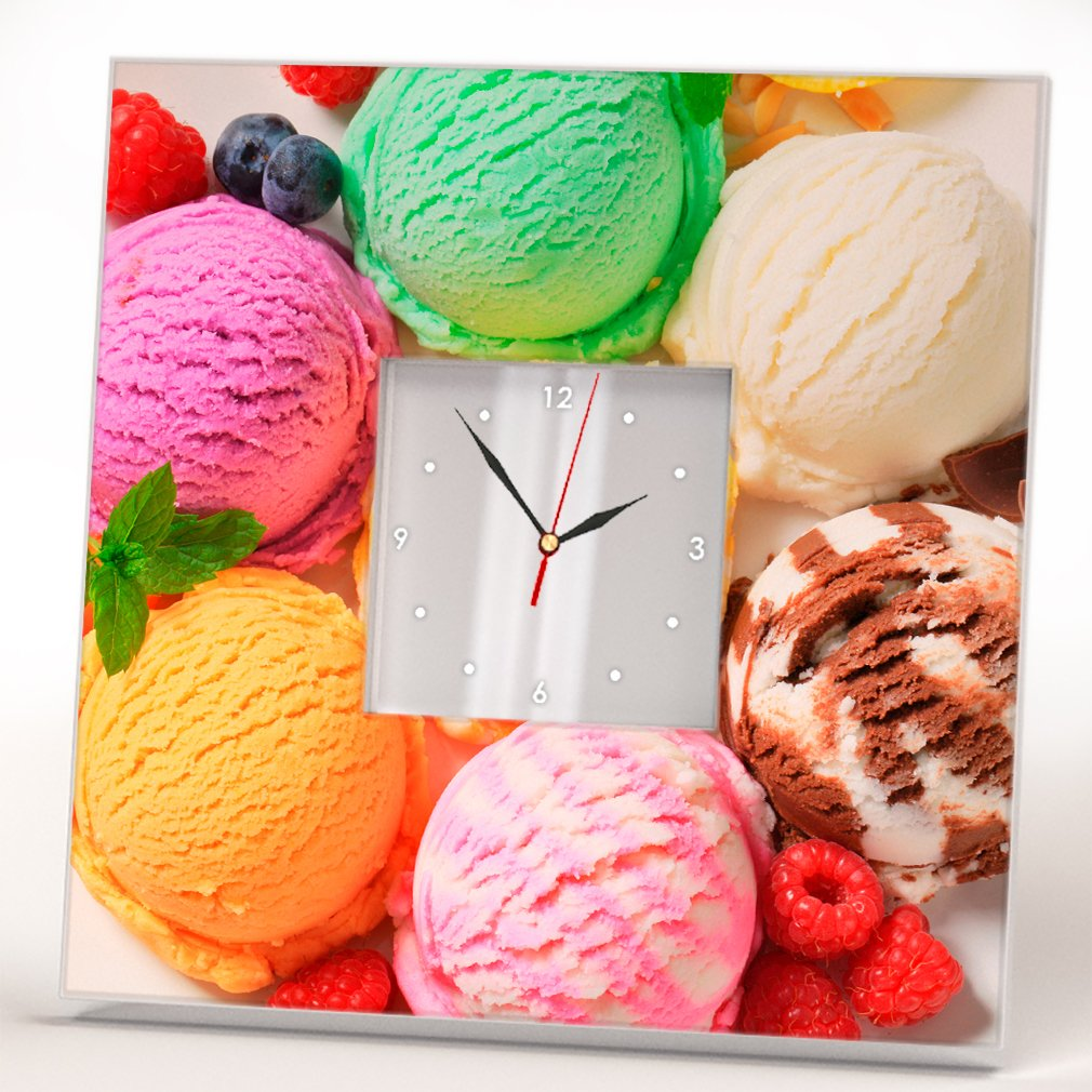 Ice Cream Balls Wall Clock Framed Mirror Printed Dessert Food Art Design Home Kids Room Decor Gift