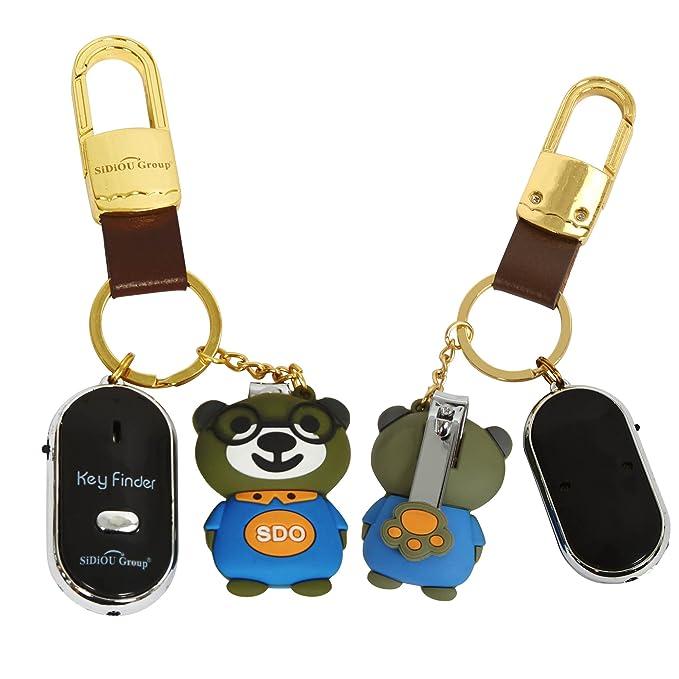 Sidiou Group Antorcha LED Anti-Perdida buscador dominante Localizador Encuentra llavero kit buscador Llavero del silbido del control Key (negro): Amazon.es: ...