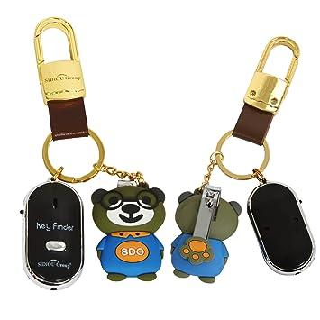 Sidiou Group Antorcha LED Anti-Perdida buscador dominante Localizador Encuentra llavero kit buscador Llavero del silbido del control Key (negro)