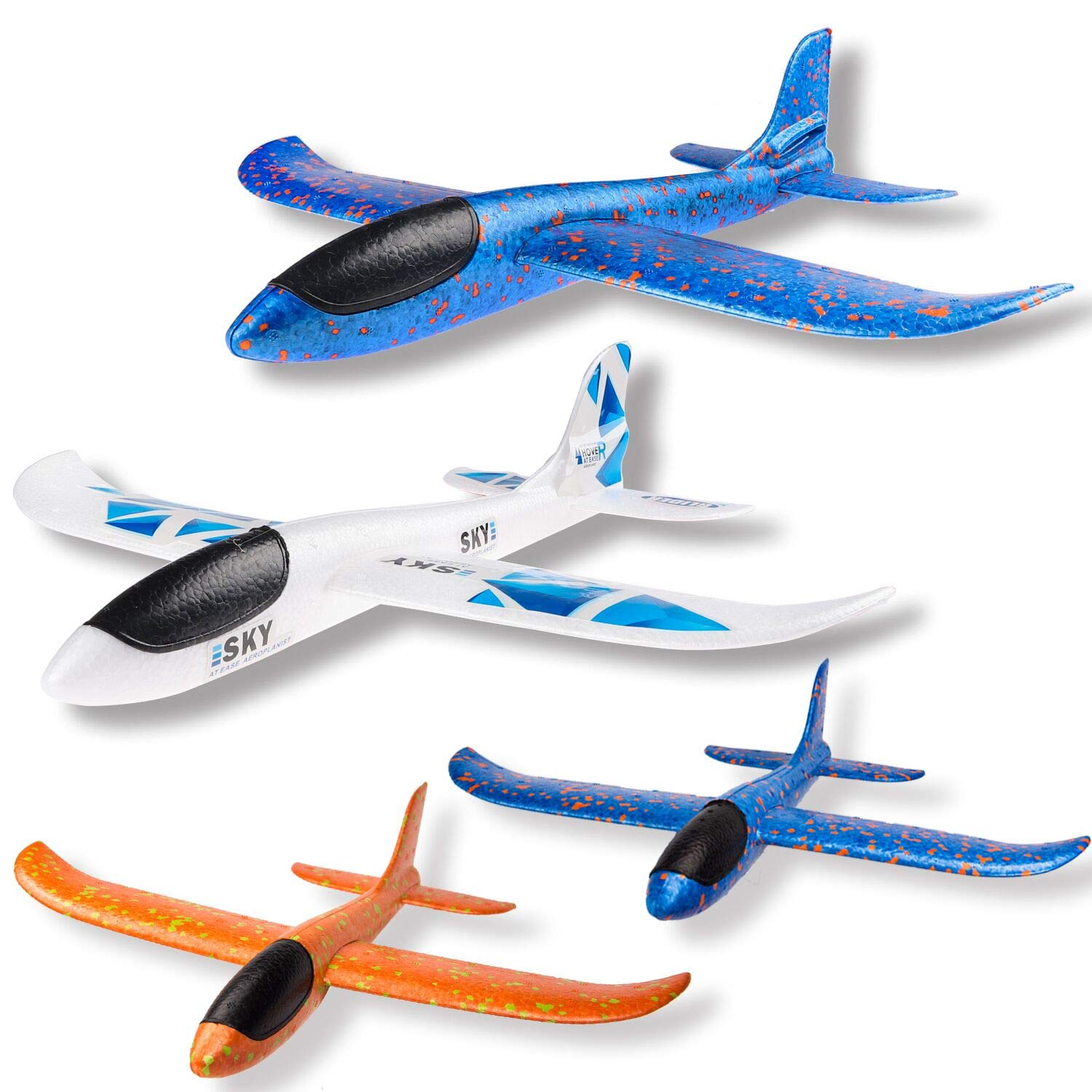 WATINC 4 pcs Airplane 17inch and 13.5inch Manual Foam Flying Glider Planes Throwing Fun Challenging Games Outdoor Sports Toy Model Air Plane Two Flight Modes Blue Orange White Aircraft for Boys Girls by WATINC