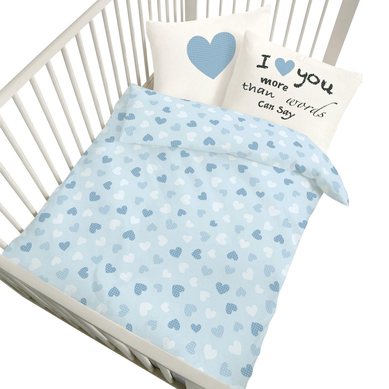 Kinderbutt duvet cover set Renforcé pastel blue size 40x60 cm / 100x135 cm