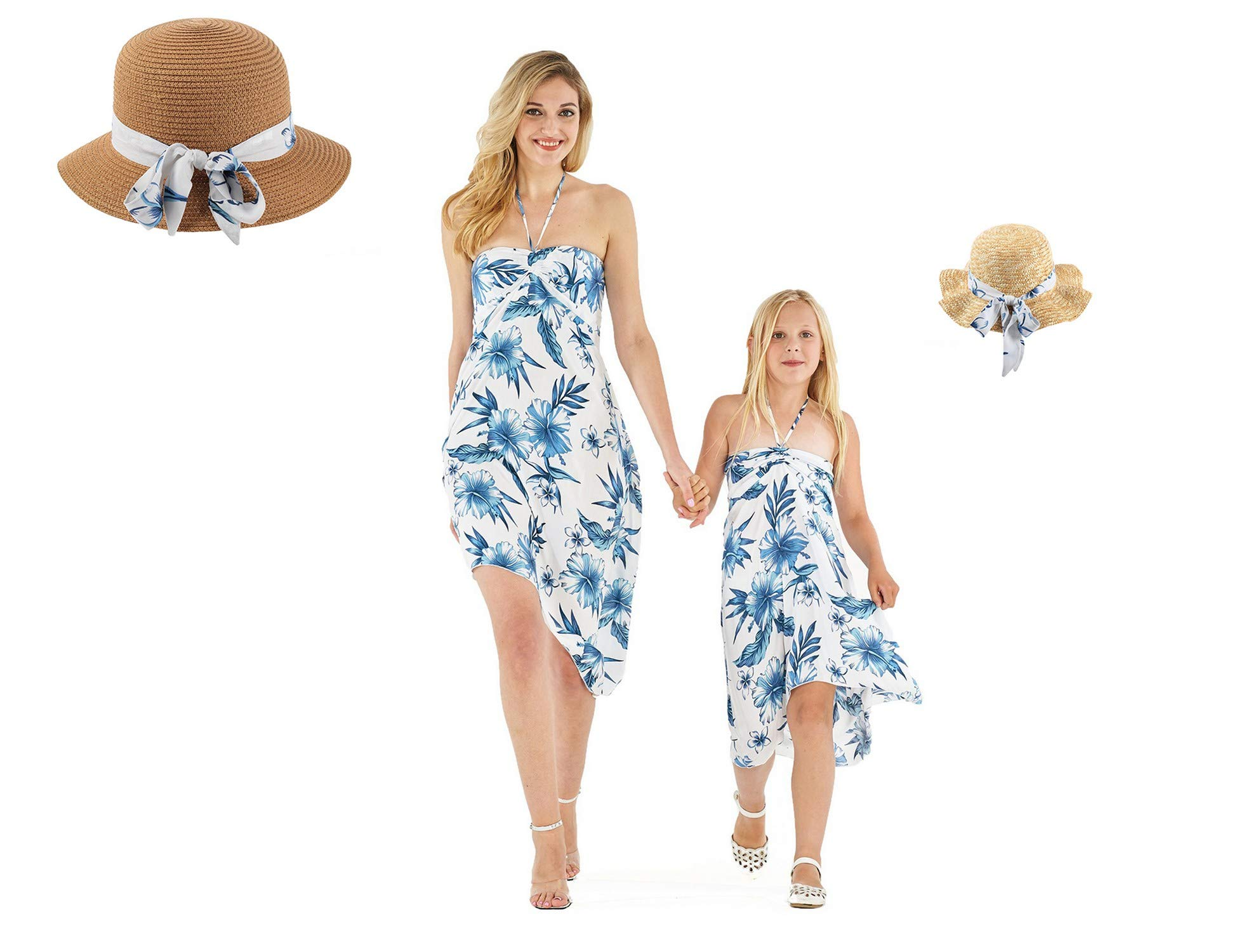 Matching Hawaiian Luau Mother Daughter Butterfly Dresses and Hats with Matching Bands in Day Dream Bloom S-2