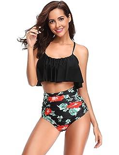 11f3e785116 LALAVAVA Women s High Waisted Bikini Sets Flounce Bikini Crop Top Monokini Bathing  Suits