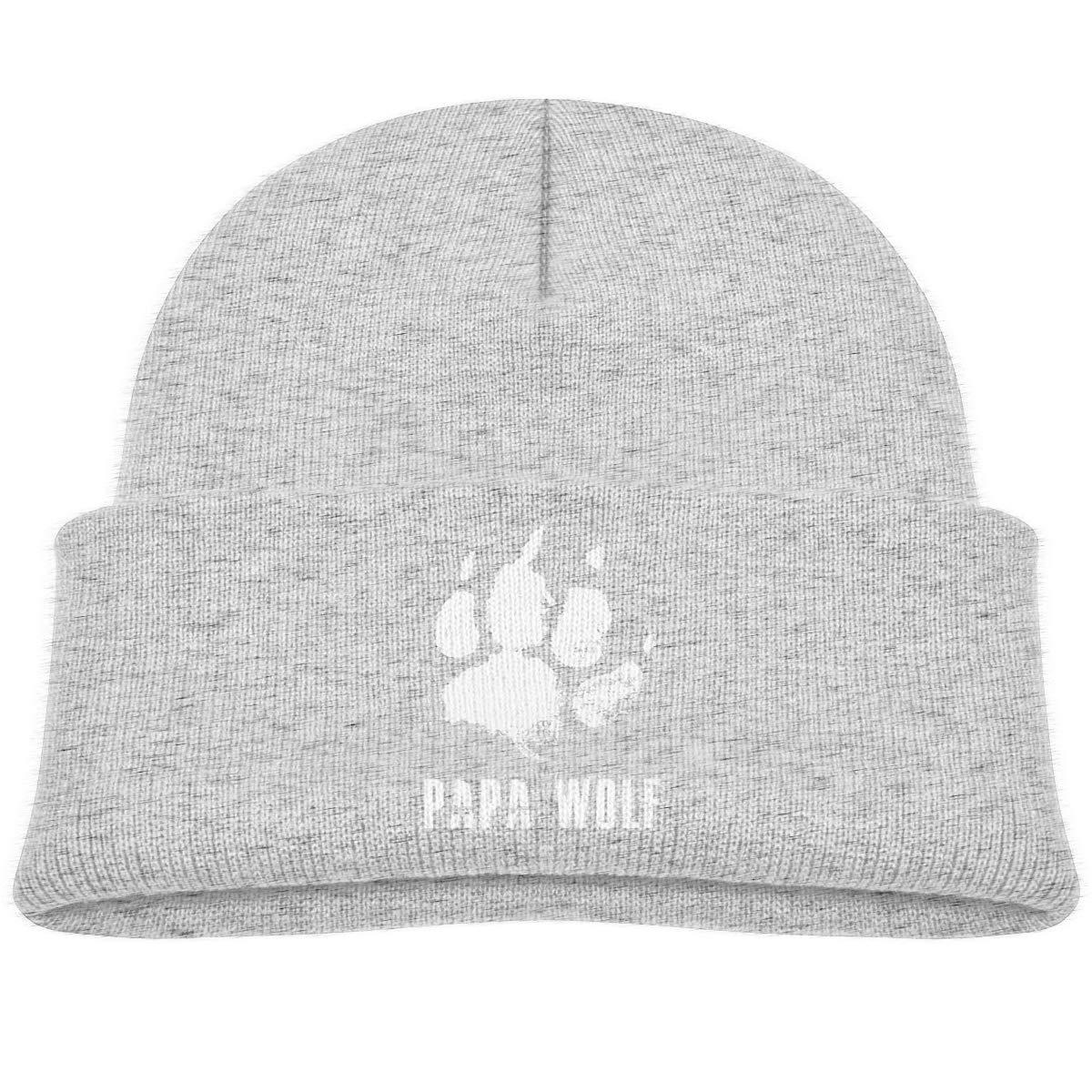 Papa Wolf Beanie Hats Baby Girls Gray