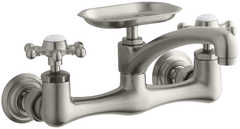 KOHLER K-149-3-CP Antique Wall-Mount Kitchen Sink Faucet, Polished ...