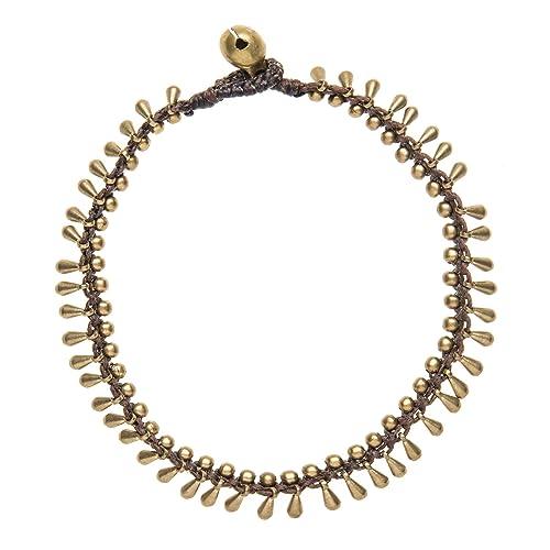 81stgeneration Women's Brass Gold Tone Multi Coloured Shell Bead Ankle Anklet Bracelet, 26 cm