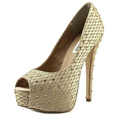 a1d31bfe16d Steve Madden Red Carpt Women US 7.5 Gold Peep Toe Platform Heel