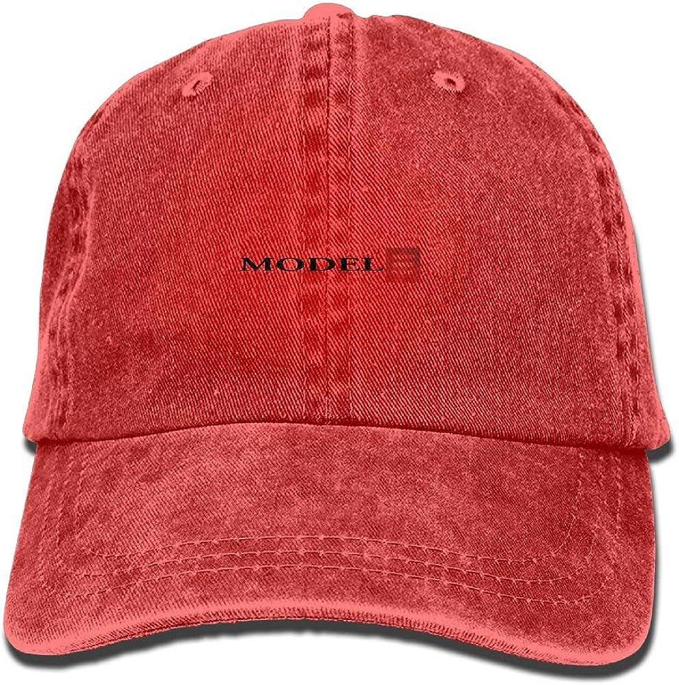 Adjustable Contrast Color Hip Hop Baseball Hats Tesla Model 3 Red Logo Cowboy Hip Hop Sports