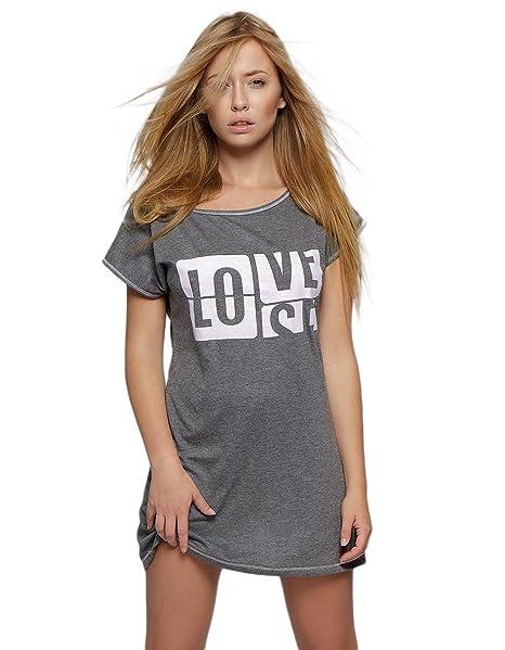 69b141ba28 Sensis Camicia da notte in cotone di qualità superiore con stampa trendy,  made in EU: Amazon.it: Abbigliamento