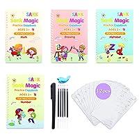 English Magic Practice Copybook for Kids - The Print Handwiriting Workbook-Reusable Writing Practice Book (4PCS Books + 6PCS Pens + 12PCS Plastic Stencils)