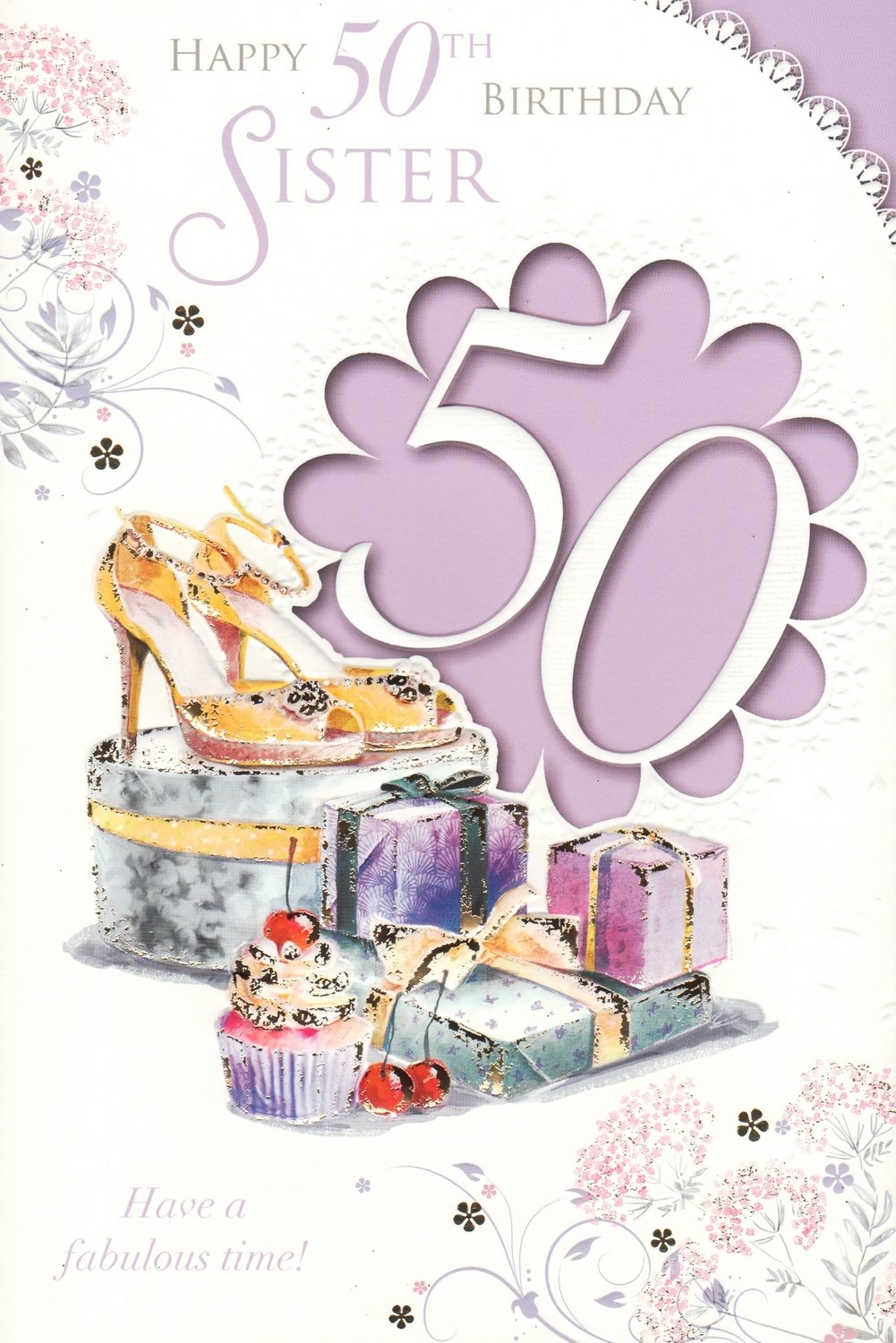 Happy 50th Birthday Sister Card Amazoncouk Garden Outdoors