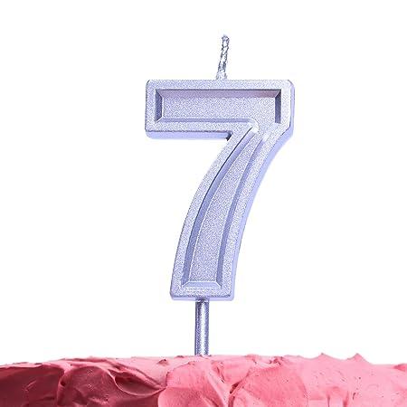 Get Fresh Velas de cumpleaños de 7 años, Velas Plateadas ...