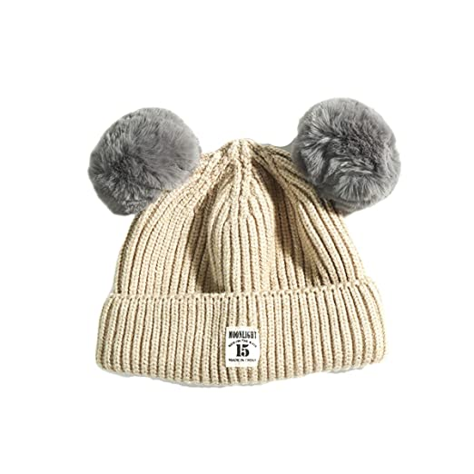 762f13cf7fa Fashion Winter Warm Cute Fur Ball Ears Knitted Toddler Beanie Hat for Baby  Boys Girls