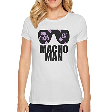 7218bb04 Image Unavailable. Image not available for. Color: OPPSOTTOP Macho Man  Randy Savage 80s White Women's Short Sleeve Casual t-Shirts
