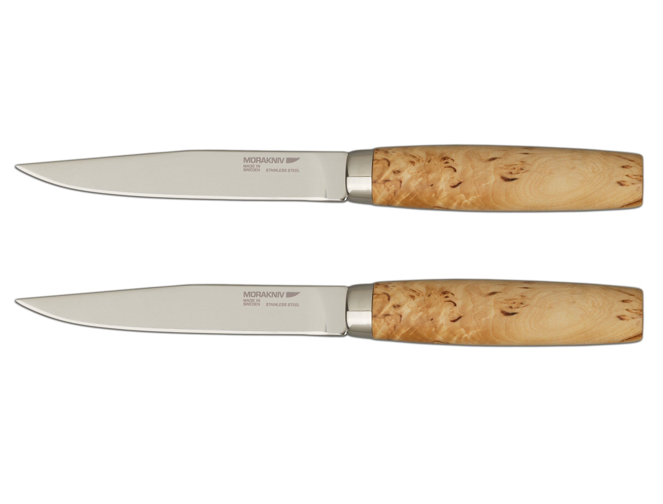 Frosts by Mora of Sweden Handmade Steak Knife with 4.8-Inch Stainless Steel Blade and Masur Birch Handle (Gift Set of 2)