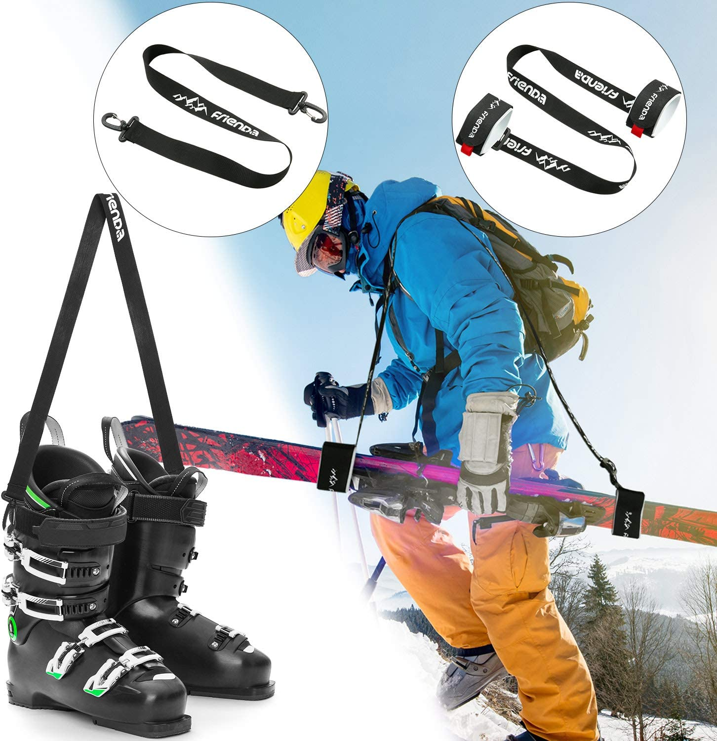 Sukoa Ski /& Pole Carrier Straps Downhill Skiing and Backcountry Gear Ski Accessories for Men and Women Shoulder Sling with Cushioned Holder Protects from Scratches