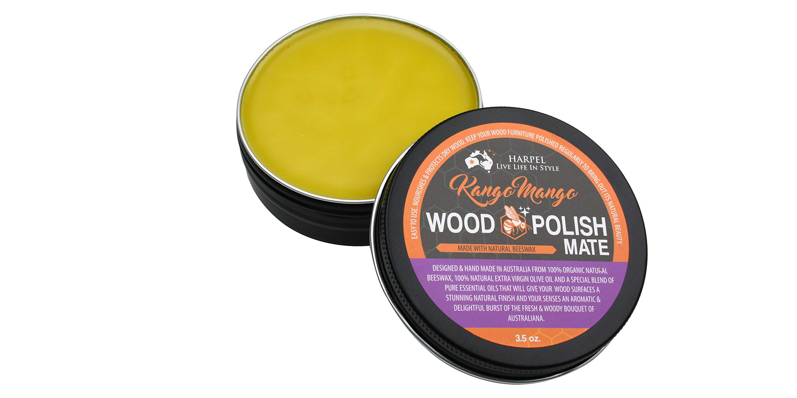 Kango Mango Wood Polish-Mate, Traditional Furniture, Natural Wood Polish with Beeswax. Nourishes, Protects Dry Wood. All Australian, Free from Petroleum, Chemicals & toxins. for All Wood Types 3.5oz