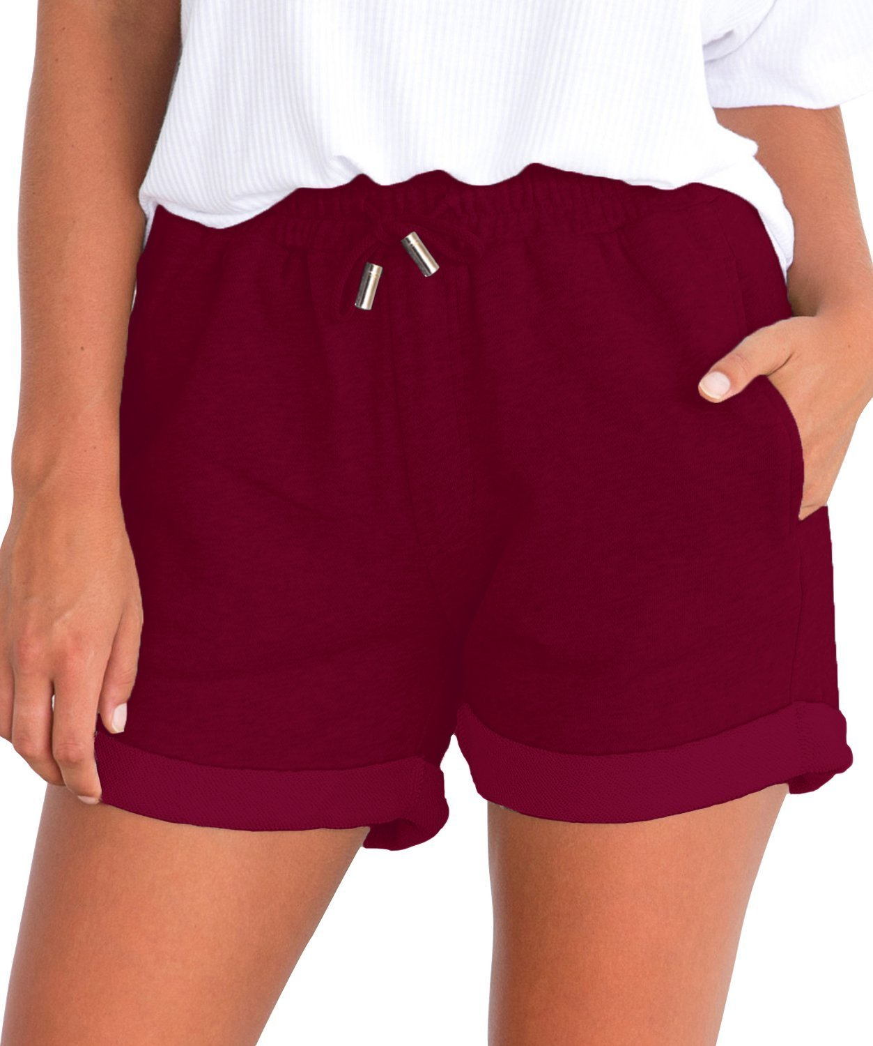 Tengo Women Summer Beach Shorts Juniors Folded Hem Shorts with Drawstring(Burgundy,L)