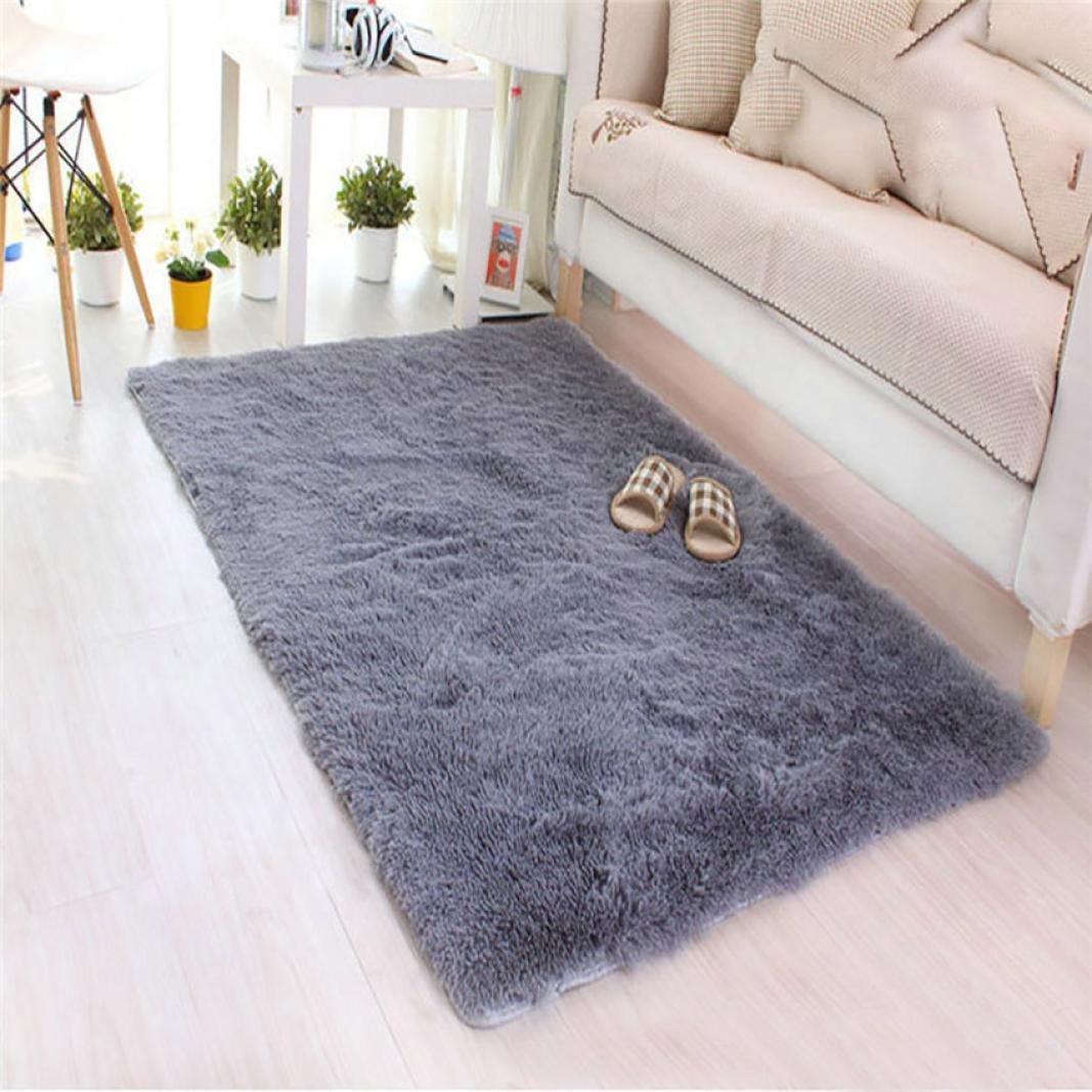 Leegor 80 X 120cm Soft Fluffy Rugs Anti-Skid Shaggy Area Rug Dining Room Home Bedroom Carpet Floor Mat (Gray)