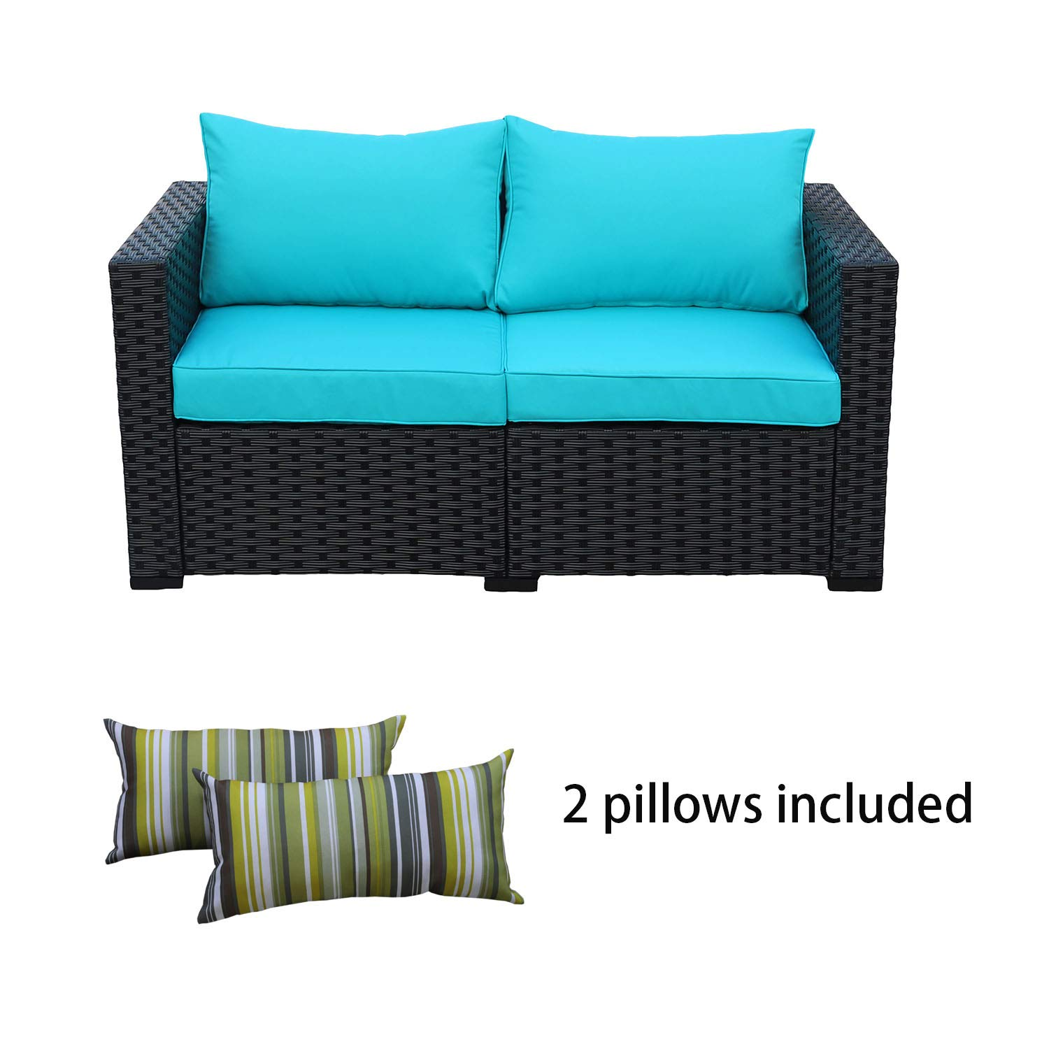 Rattaner Patio Wicker Furniture Outdoor Garden Love Seat Chair Couch Sofa Black with Turquoise Cushion