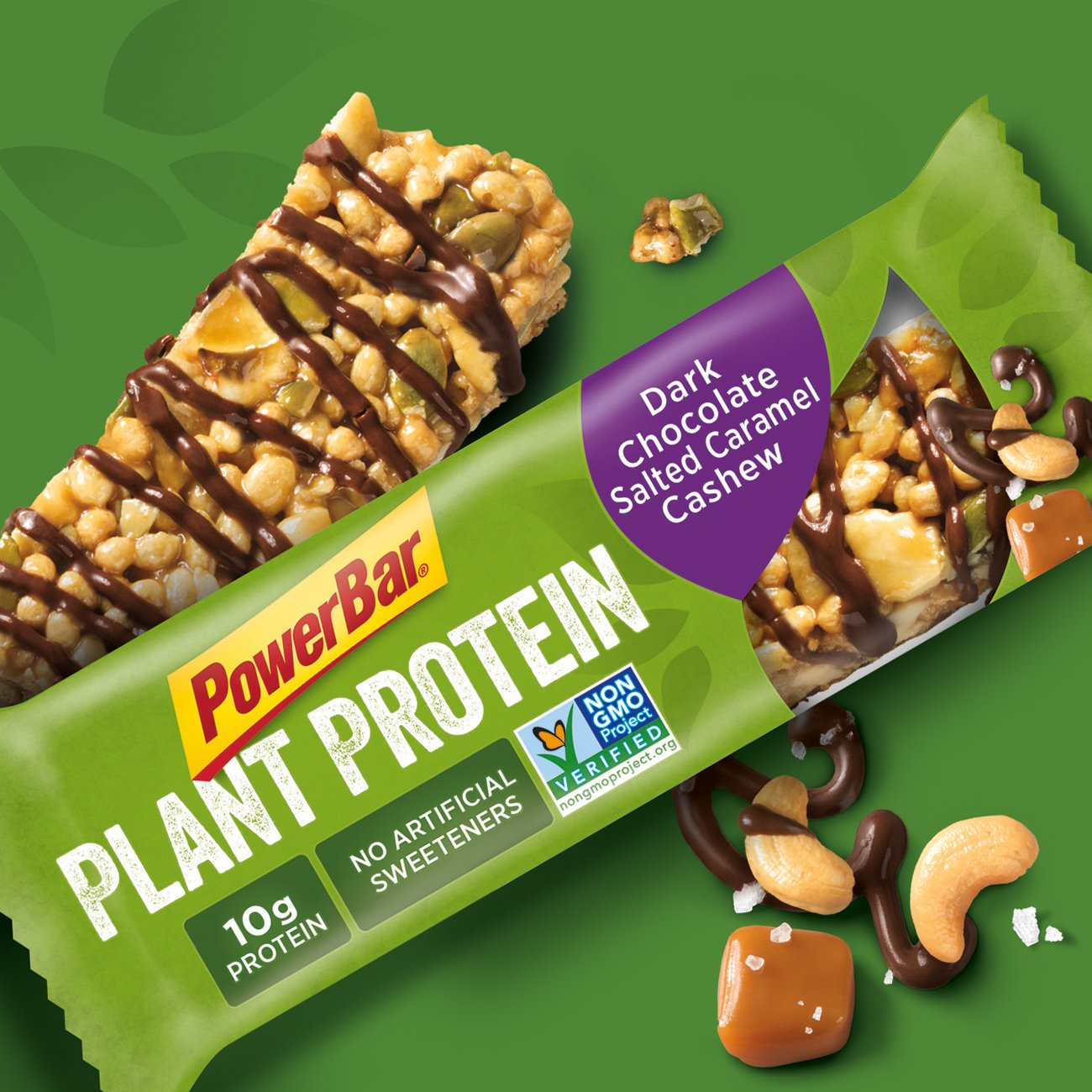 PowerBar Plant Protein Bar, Dark Chocolate Salted Caramel Cashew, 15 Count, Pack of 1 by Powerbar (Image #2)