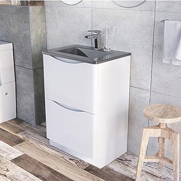 Eaton Floor Mounted Bathroom Vanity Unit White Gloss Grey Glass Basin 600mm