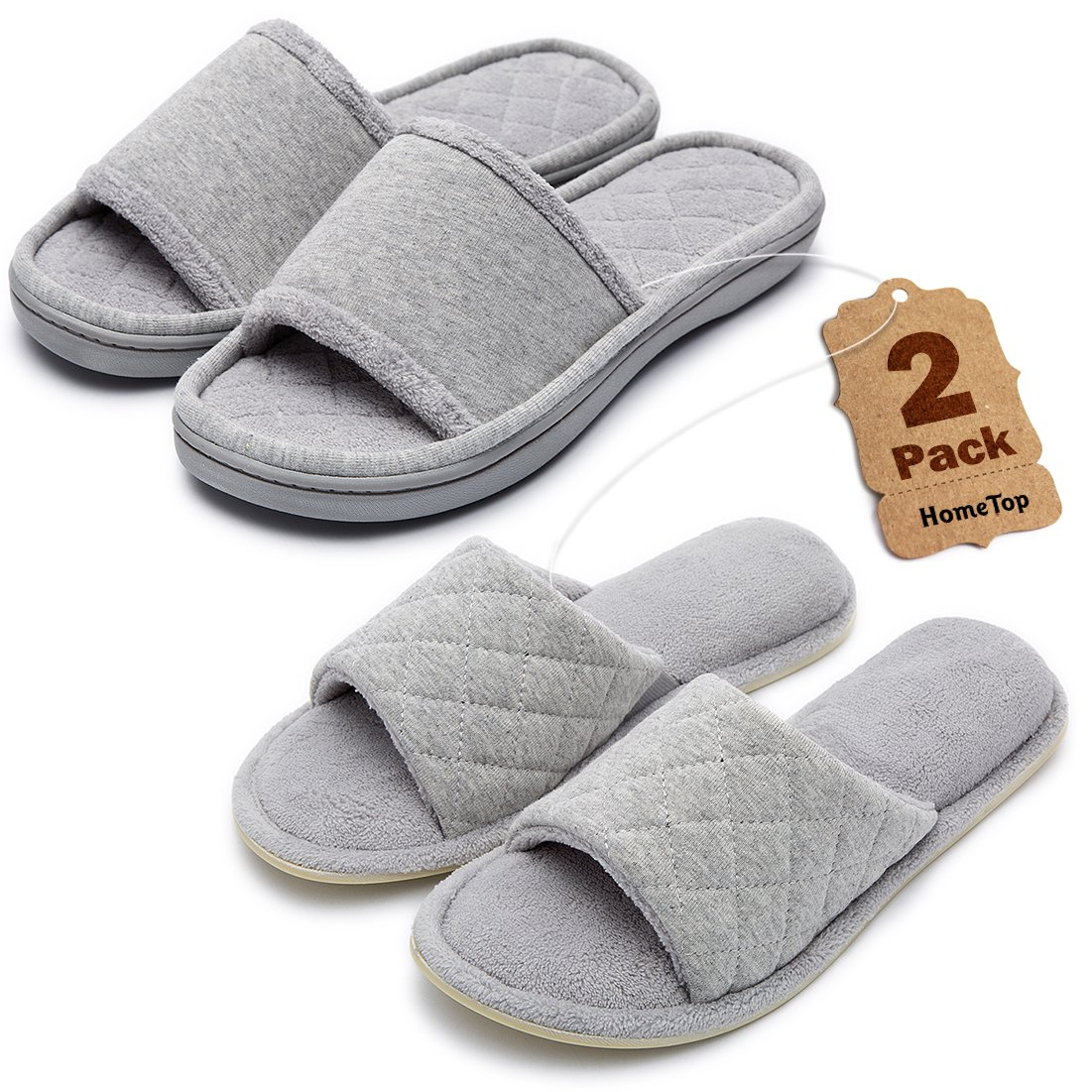 Women's Comfortable Memory Foam House Slippers Spa Shoes Set (2-Pack) with Cotton Quilted Accent and Plush Fleece Lining (Large/9-10 B(M) US, Gray)