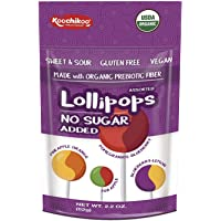 Koochikoo Sugar Free Organic Lollipops, Delicious Assorted Fruity Flavors, 10 CT (Pack - 2)