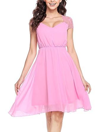 Chiffon kleid kurz pink