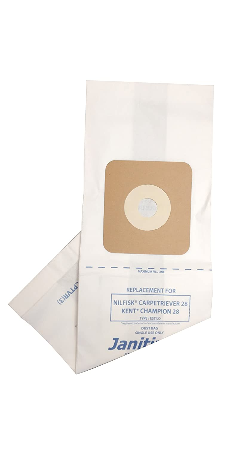 Janitized JAN-NFCPTVR(3) Paper Premium Replacement Commercial Vacuum Bag For Nilfisk Carpetriever 28, Euroclean Kent Champion 28 Vacuum Cleaners (Pack of 36)