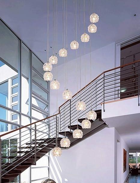Araña de diseño de uva Lámpara de escalera espiral Luces colgantes largas for sala de estar Restaurante Minimalista moderno Bar de personalidad Cafetería Escalera dúplex Lámpara de araña Cristal: Amazon.es: Hogar