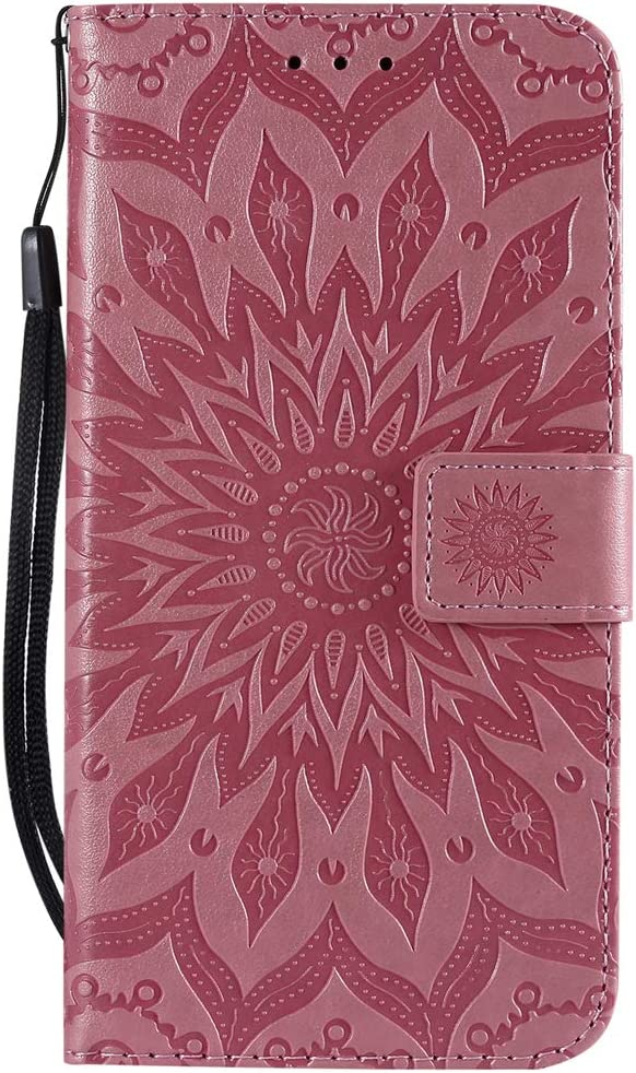 Veapero Samsung Galaxy A40 Case,ShockProof PU Leather Flip Case Cover Notebook Wallet Embossed Sun flower with Stand Card Holder Soft TPU Bumper Protective Skin Case,Gray