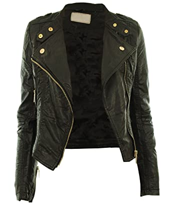 Diana New Womens Faux Leather Biker Gold Button Zip Crop Ladies ...