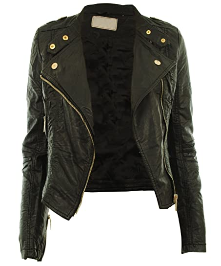 Diana New Womens Faux Leather Biker Gold Button Zip Crop Ladies ...