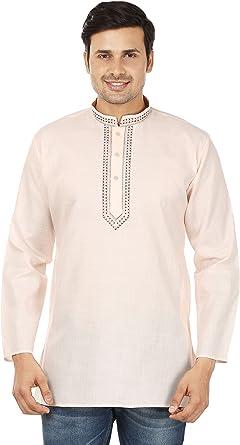 Amazon Com Kurta Ropa De La India Camisa Bordada De Algodon Vestido Corto Para Hombre Clothing
