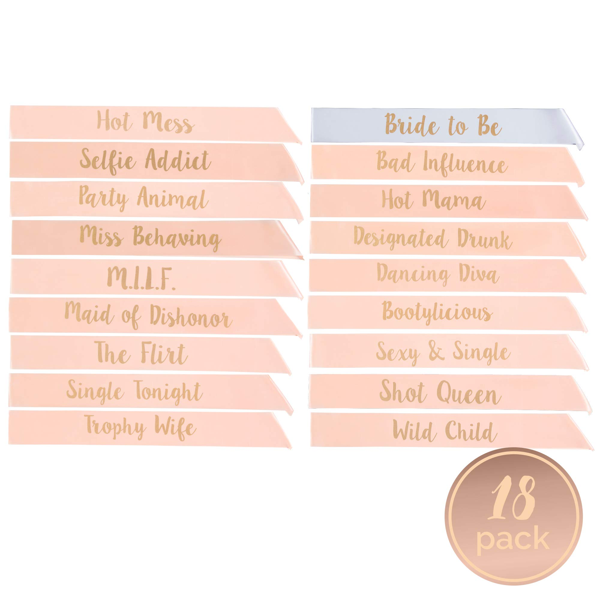 Bachelorette Party Sashes- Bride to Be and Bride Tribe Sashes (Rose Gold, 18 Pack)