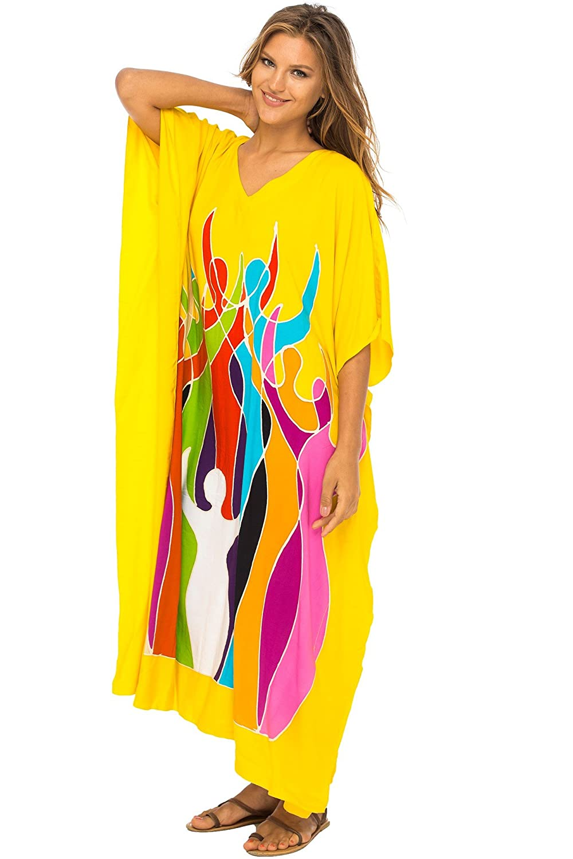 Empowerment Yellow Back From Bali Womens Long Maxi Caftan Dress Loose Women Empowerment