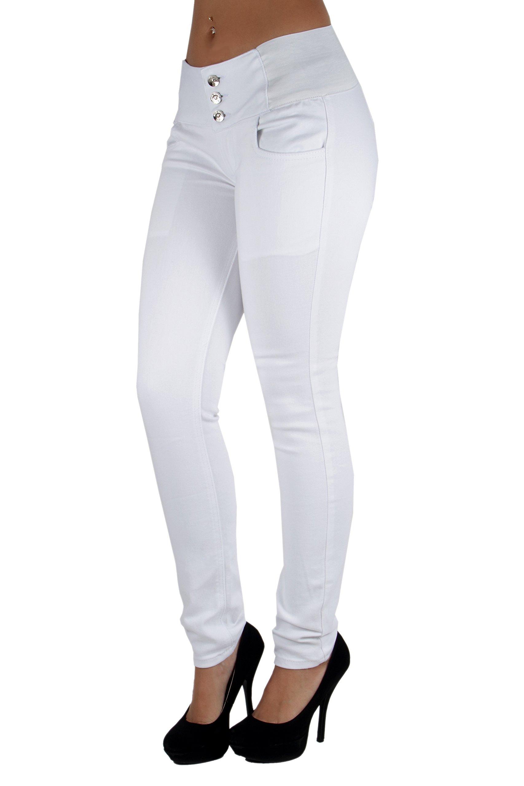 Fashion2Love WG0029 - Colombian Design, Levanta Cola, Elastic Mid Waist Skinny Jeans in White Size 9