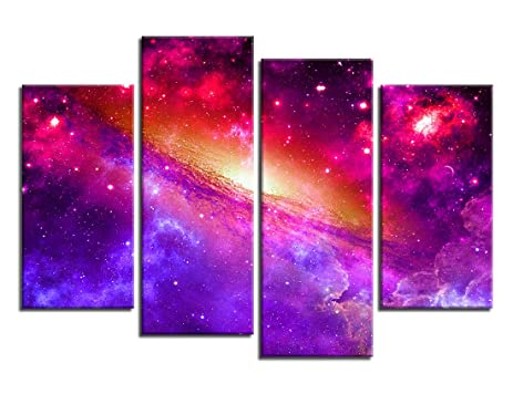 Amazon.com: ARTEWOODS Canvas Wall Art Colorful Universe Painting ...
