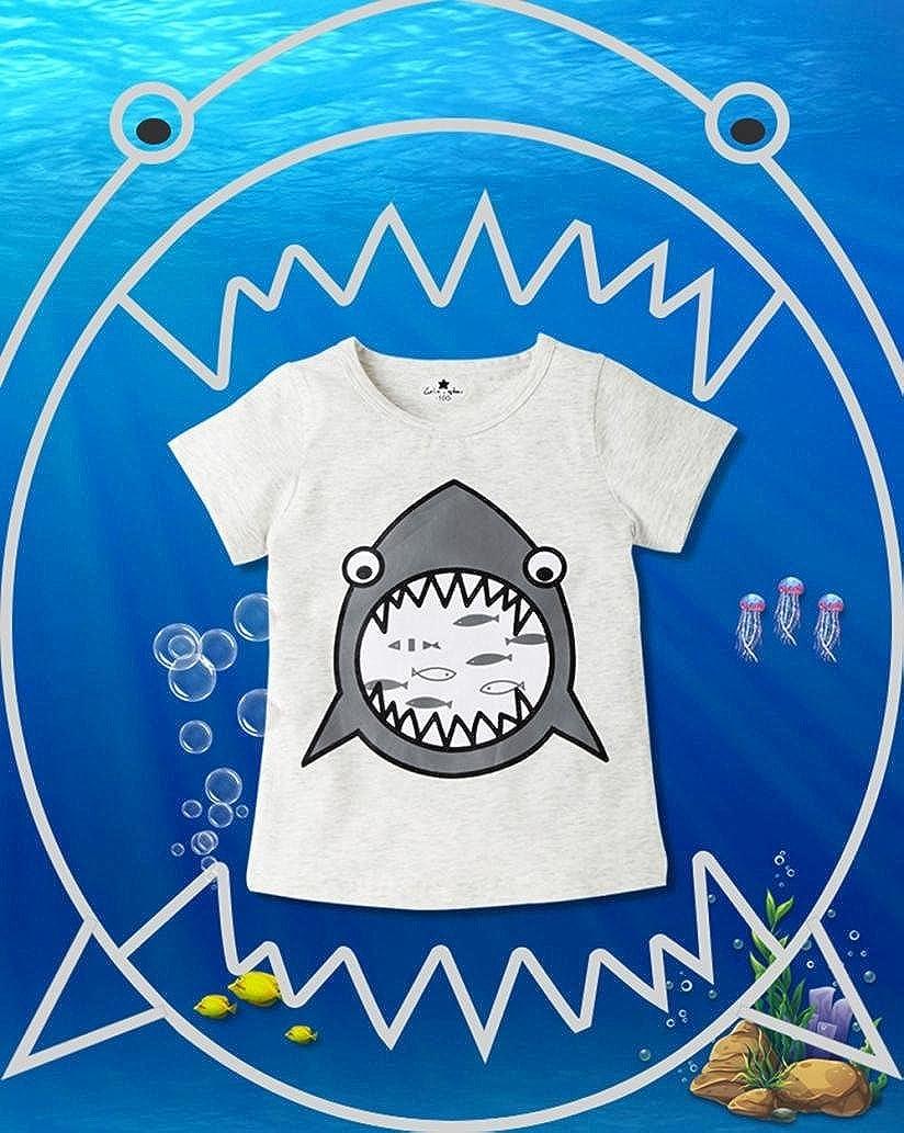 FeiliandaJJ Baby Boy Tops Kids Summer Cute Cartoon Shark Printed Short Sleeve T-Shirt Tops Clothes for 1 2 3 4 Years