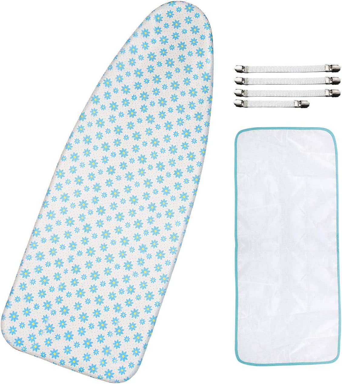 "Dalykate Replacement Ironing Board Cover and Pad with Elastic Edge and Scorch and Stain Resistant Thick Padding Ironing Board Covers 4 Fasteners and 1 Protective Scorch Mesh Cloth (Floral, 18"" X 49"")"
