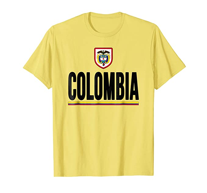 Mens Colombia T-shirt Colombian Flag Soccer Futbol Fan Jersey 2XL Lemon