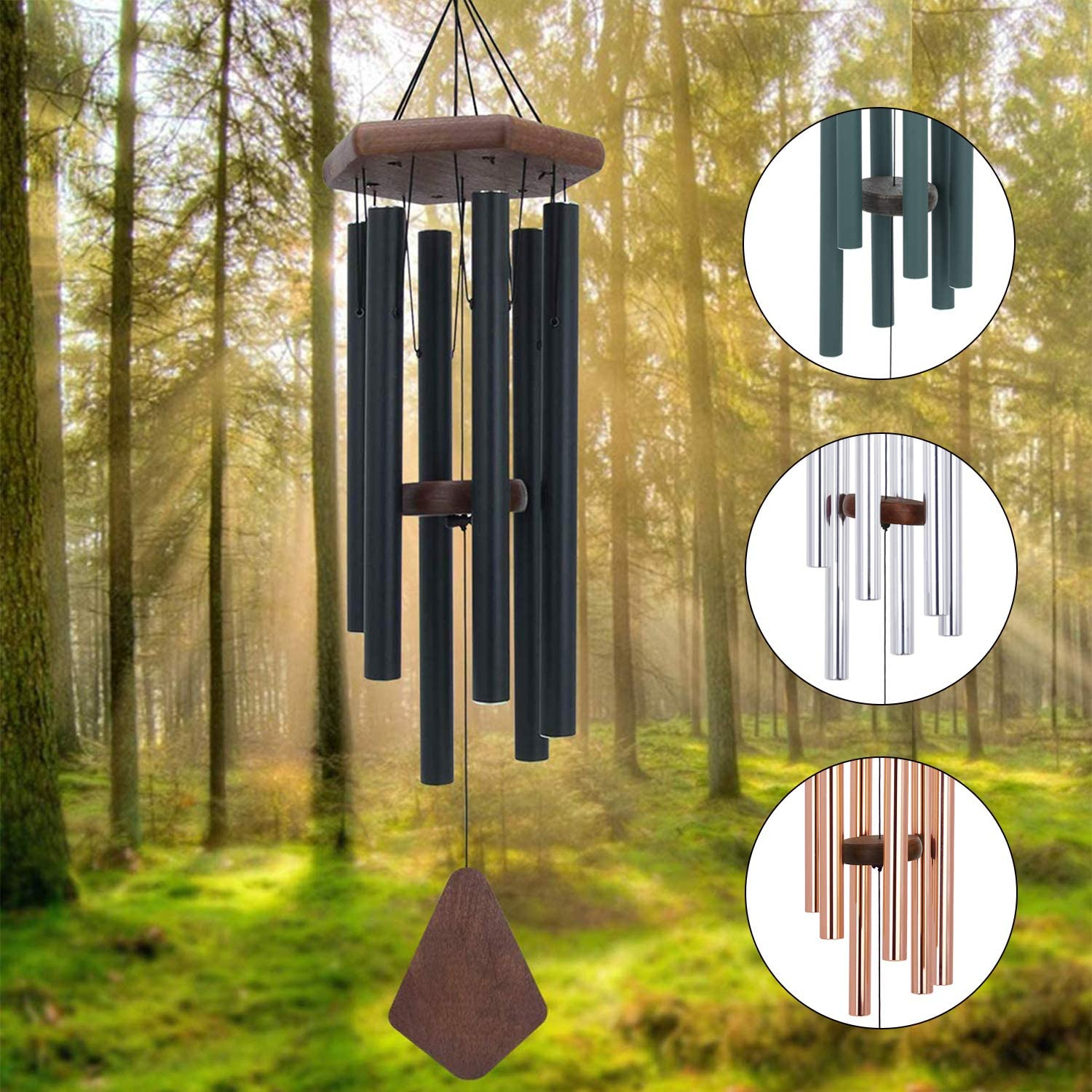 Memorial Wind Chimes Outdoor Deep Tone, 30 Inches Amazing Grace Wind Chime Outdoor, Sympathy Wind-Chime Personalized With 6 Tuned Tubes, Elegant Chime For Garden, Patio, Balcony And Home, Matte Black