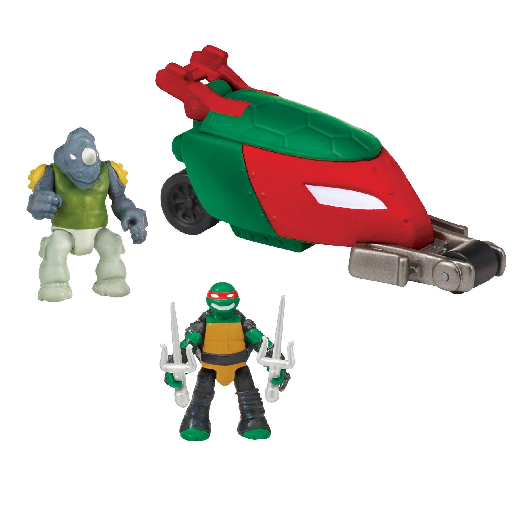 Teenage Mutant Ninja Turtles Micro Mutant Stealth Cycle with 1.15'' Scale Super Ninja Raphael and Rocksteady Figures and Vehicle